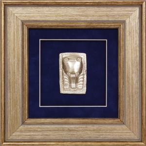 Панно «Медведь в ритуальной позе» серебро