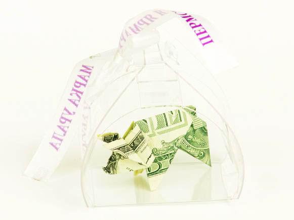 Свиянья-оригами из доллара