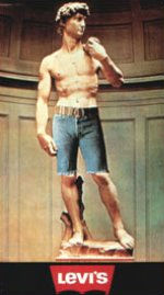 «Ливайс», 1970. Остроумное дополнение к «Давиду» Микеланджело дает понять молодым людям, как можно неплохо выглядеть в джинсовых «оторванных» шортах фирмы «Ливане». Дизайнер этой рекламы полагал, что здесь не требуется никакого текста, кроме названия фирмы. Историю «блюджинсов», сделавших великий американский вклад в мировую коллекцию одежды, можно проследить с 1859 года, когда Ливай Страусе начал шить рабочие штаны для калифорнийских золотодобытчиков из парусины, которую он планировал продавать изготовителям палаток и крыш для повозок.