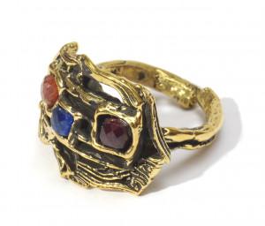 Кольцо «Звериный стиль» с турмалином, гранатом, кианитом